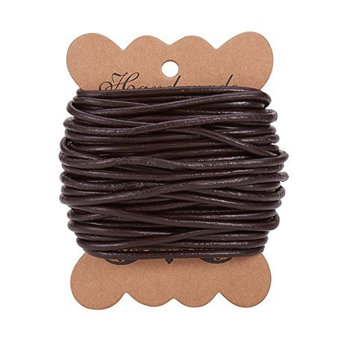 PandaHall Elite 1 Roll 3 mm Cowhide Round Leather Cords For Bracelet Neckacle Beading Jewelry Making 10 meter / 11 Yard Dark Brown by Pandahall