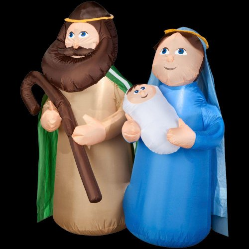 Christmas Decoration Lawn Yard Inflatable Airblown Mary, Joseph & Baby Jesus Holy Family 4' Tall front-368168