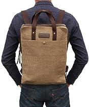 Hot Sale Otium 20601 Canvas Backpack Bagpack Cross-Over Tote Bag, Coffee
