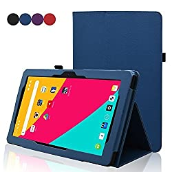 Dragon Touch X10 Case - ACdream Folio Premium PU Leather Cover Case for Dragon Touch X10 10.6 Inch Octa Core Android Tablet, Dark Blue