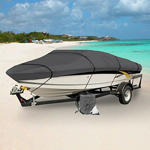 GRAY HEAVY DUTY WATERPROOF MOORING BOAT COVER FITS LENGTH 16' 17' 18.5' SUPERIOR TRAILERABLE BOAT COVERS 600 DENIER V-HULL FISHING SKI BOAT RUNABOUT PRO BASS INBOARD OUTBOARD BOAT COVERS