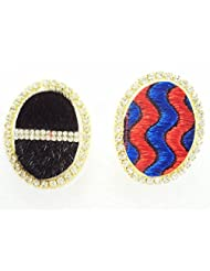 Designer Saree Pin Brooch, Oval Shaped, Designer Fabric & Stone Stud, Set Of Two Pieces - B00VDCOK82