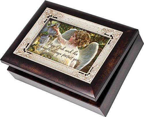 Cottage Garden Guardian Angel In The Garden Burlwood Inlay Italian Style Music Musical Jewelry Box Plays Amazing Grace (Amazing Grace Picture compare prices)