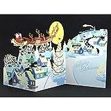 クリスマスカード 洋風 レーザーギャラリーカード ホールマーク【ホ-140】 クリスマス月夜 XAP-710-422