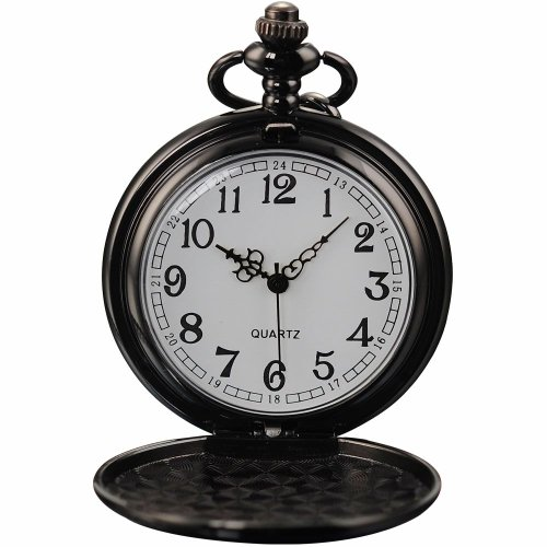 AMPM24 Vintage Black Mens Women Ladies Quartz Pendent Pocket Watch Clock Chain Gift