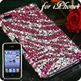 iPhone4用 豪華スワロフスキーiPhone4ケース(Dタイプ・ゼブラピンク)