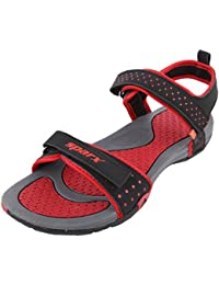 Sparx Women's SS0803L Series Black Red Synthetic Casual Floater Sandals