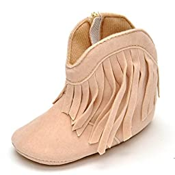 Lidiano Baby Infant Vintage Tassels Soft Sole Western Cowboy Cowgirl Boot Snow Boots Crib Shoes (12-18 Months, Beige)