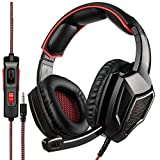 SADES SA920PLUS Stereo Gaming Headset for PS4, PC, Xbox One Controller, Noise Cancelling Over Ear Headphones with Mic, Bass Surround, Soft Memory Earmuffs for Laptop Mac Nintendo Switch(Black Red) (Color: SA920PLUS Red Black, Tamaño: SA920PLUS)