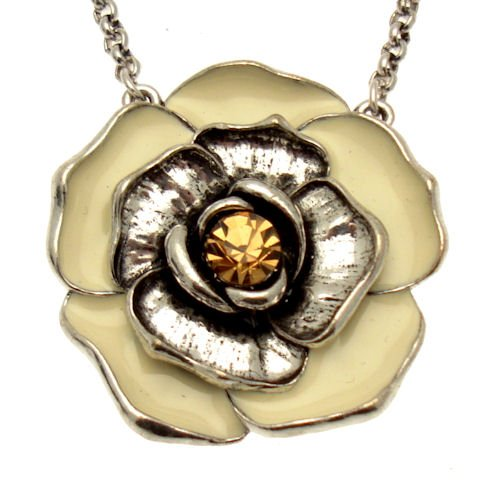 Acosta - Cream Enamel & Topaz Crystal - Fashion Jewellery Flower Necklace - Women's Gift