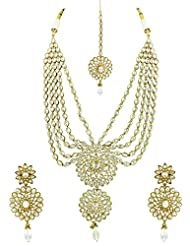 Bridal Jewellery Set Five Lines Contemporary Reverse AD Necklace Set