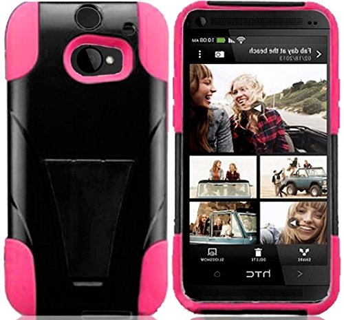 Mylife Cloudy Black And French Rose Pink {Impact Design} Two Piece Neo Hybrid (Shockproof Kickstand) Case For The All-New Htc One M8 Android Smartphone - Aka, 2Nd Gen Htc One (External Hard Fit Armor With Built In Kick Stand + Internal Soft Silicone Rubbe