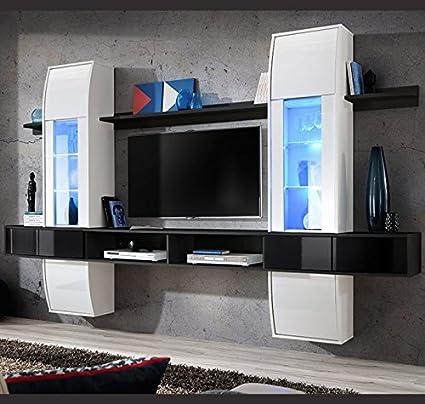 Muebles Bonitos –Mueble de salón modelo Nilson color Negro y blanco