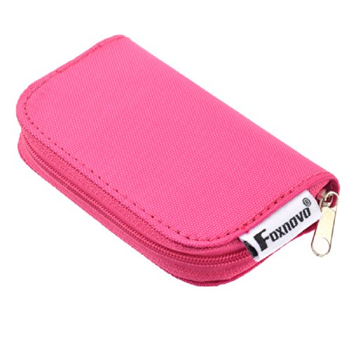 Foxnovo 22-Slots Sd Sdhc Mmc Cf Micro Sd Memory Card Holder Pouch Case Zippered Storage Bag Protector (Rosy)