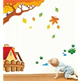 Rawpockets Decal ' House And Tree Story' Multi-Color Extra Large Size Wall Sticker(Material- PVC Vinyl Matte Finish,Wall Coverage Area -Height -115cm X Width -100cm)( Pack Of 1)