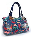 Oilcloth Tote Bag (MBDS) (Birds & Flowers) (Blue)