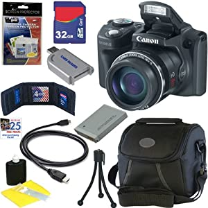 Canon PowerShot SX500 IS 16.0 MP Digital Camera with 30x Wide-Angle Optical IS Zoom (Black) + NB-6L Battery + 8pc Bundle 32GB Accessory Kit
