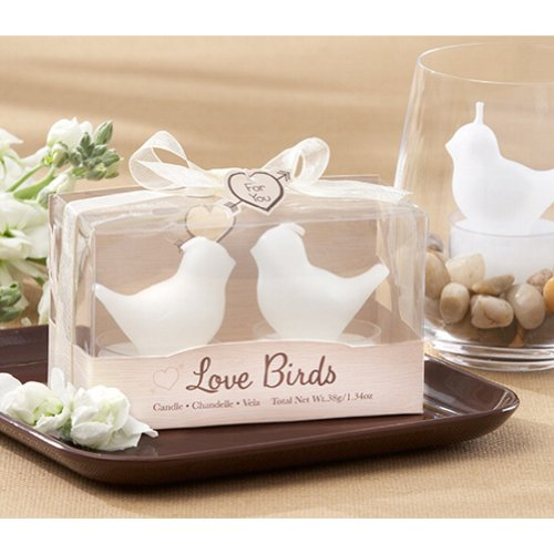 Love Birds White Bird Tea Light Candles (40 Boxes = 40 Bird Pairs) front-48258
