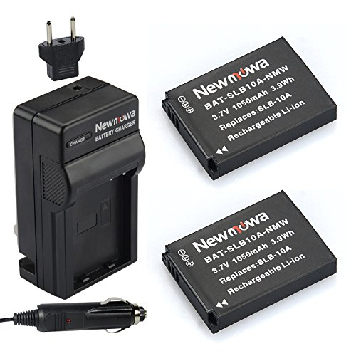 Newmowa SLB-10A Battery (2-Pack) and Charger kit for Samsung SLB-10A, JVC BN-VH105 and Samsung ES50, ES55, ES60, EX2F, HMX-U10, HMX-U20, HZ10W, HZ15W, IT100, L100, L110, L200, L210, L310W, M100, M110, M310W, NV9, P800, P1000, PL50, PL51, PL55, PL60, PL65, PL70, SL102, SL202, SL310, SL420, SL502, SL620, SL720, SL820, TL9, WB150F, WB250F, WB350F, WB500, WB550, WB750, WB800F, WB850F, WB1100F, WB2100, JVC GC-XA1,GC-XA2 ADIXXION Action Camera