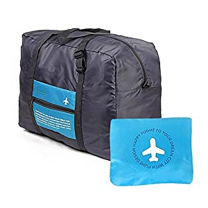 GINIA Waterproof Nylon Foldaway Storage/Duffel Bag For Travel, Campimg, Sports Gear or Gym - Large Capacity Lightweight Trolley/Tote Bag, Can Attach on the Handle of Suitcase & Luggage, Blue Color
