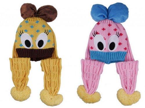 (ポラリス) Polaris 1-5歳赤ちゃんベビーウールカシミヤ耳あて ニット帽子キャップハットキッズ可愛いアヒルデザイン冬保温防寒能力一流2色セット(色選べます) (3黄色 ピンク(1))