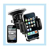 Apple Iphone 4G , 4th Generation Smartphone and Ipod Touch 4rd generation, iTouch 4 Car Windshield Mount Holder + iPod iTouch 4th Generation Premium Black Soft Gel Silicone Skin Case Cover + Live*Laugh*Love Wristband!!!