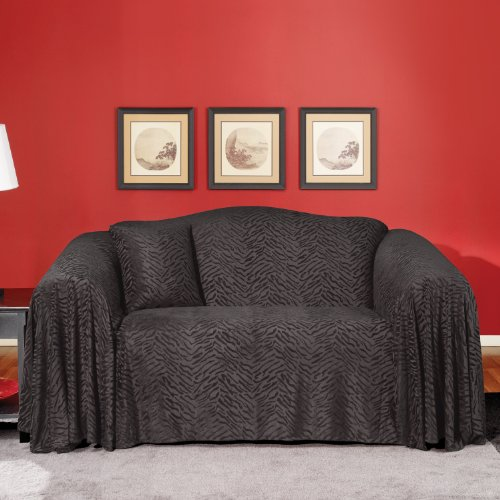 Buy Low Price Sure Fit Plush Animal Loveseat Throw in Ebony (159011117A)