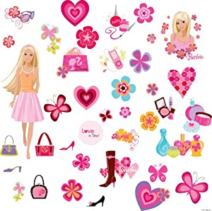 RoomMates RMK1158SCS Barbie Deco Peel & Stick Wall Decals