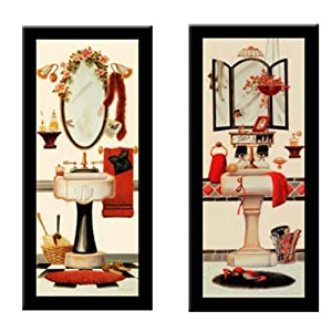 GIRLY BATH GLAMOUR BATH 39 Bathroom Art 2 Piece FRAMED PRINT SET Lisa