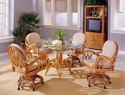 South Sea Rattan New Twist Dining Table w/ Glass Top Dining Table