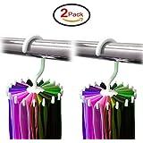 "2 Pack Ipow 360 Degree Rotating Twirl Tie Rack Adjustable Tie Belt Scarf Hanger Holder Hook Ties Scarf for Closet Organizer Storage (4.7"")"