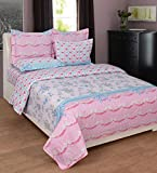BeautifulHOMES Gorgeous Cotton Double Bedsheet With 2 Pillow Cover - Pink and Grey
