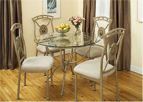 Sutton 5 Piece Dining Room Glass Table and Chair Set