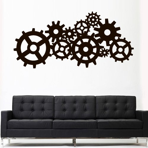 Wall Decal Vinyl Sticker Decals Art Decor Design Steampunk Gears and Cogs Geometric Machine Circles Mechanism Bedroom Dorm (Z3163) (Gear Wall Art compare prices)