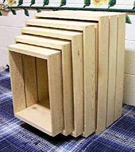 Pine 5 piece nesting storage crates for Re storage crate