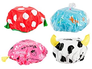 Present Time Silly Funny Shower Cap, Assorted Styles, Red/Black/White/Yellow/Blue/Pink