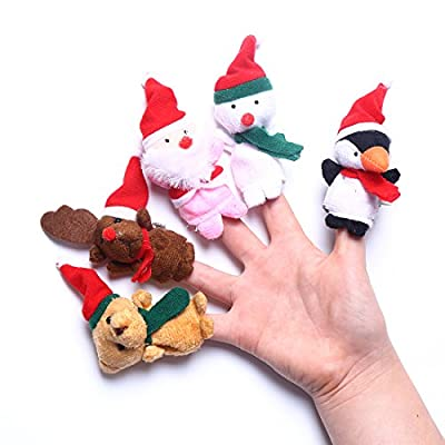 CCINEE 5 pcs Different Christmas Finger Doll For Kids Funny Glove Puppets Parent-child Bedtime Story Hand Cartoon Animal Toy
