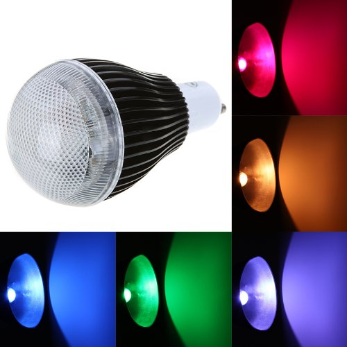 Docooler Isunroad 9W 420LM LED RGB Light 2 Million Color Changing Voice Music Control High Power Energy Saving Bulb Lamp with IR Remote 110-240V (GU10)