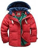 (チーアン)Tiann 子ども ダウンジャケット ダウンコート 中綿コート キッズ 防寒 フード付き アウター 男の子 冬 ボーイズ レッド