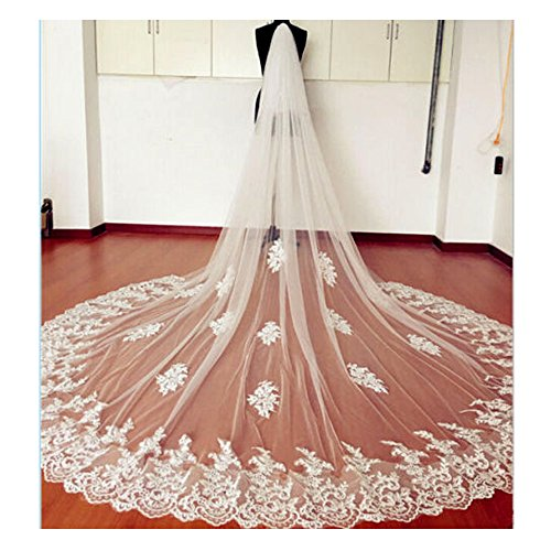 EllieHouse Women's Custom Made Long Lace Wedding Bridal Veil With Free Comb White E69