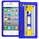 Blue Retro Xylo-Tape Cassette Silicone Cover / Skin / Case for the Apple iPhone 4 4G 4S.