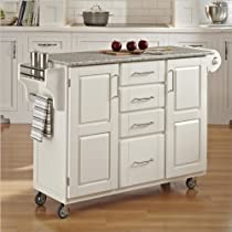 Hot Sale Home Styles 9100-1023 Create-a-Cart 9100 Series Cuisine Cart with Salt and Pepper Granite Top, White, 52-1/2-Inch