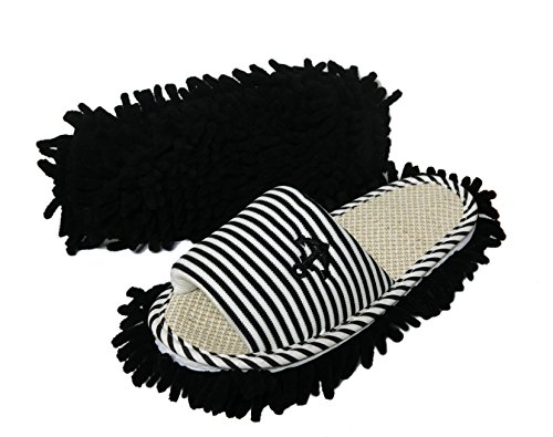 Friendly House Women's Microfiber Floor Cleaning Mop Slippers with Stripes and Embroidery (Black) (Summer Household Slippers compare prices)