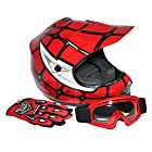 TCMT Dot Youth & Kids Motocross Offroad Street Helmet Red Spider Net Motocross Off-Road Helmet MX Goggles+Gloves M