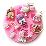 Cool88 Mini Baby Shower Fondant Cake Decorating Silicone Sugar Mold for Craft Molds DIY Gumpaste Flowers, Small, Pink