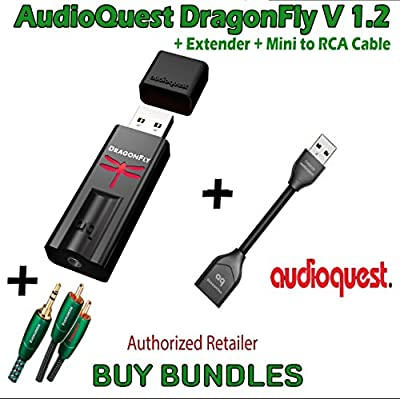 AudioQuest - Dragonfly V1.2 USB DAC + AudioQuest DragonTail USB 2.0 Extender + AudioQuest- Evergreen Mini-To-Rca 2m