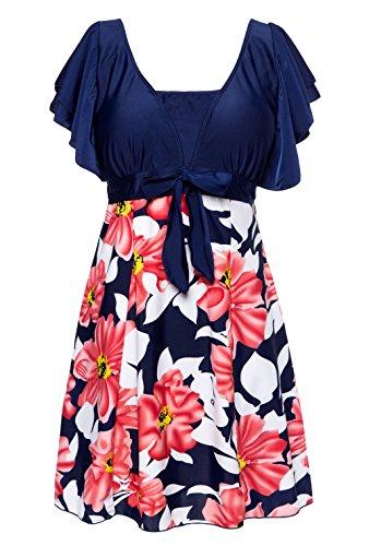 WantDo Women's Halter Shaping Body One-Piece Swimsuit lovely Swimwear(FBA)(Lily Orange,US0X/Asian5XL)