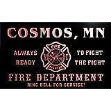 qy58270-r FIRE DEPT COSMOS, MN MINNESOTA Firefighter Neon Sign Barlicht Neonlicht Lichtwerbung