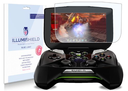 "Illumishield - Nvidia Project Shield 5"" (Hd) Blue Light Uv Filter Screen Protector Premium High Definition Clear Film / Reduces Eye Fatigue And Eye Strain - Anti- Fingerprint / Anti-Bubble / Anti-Bacterial Shield - Comes With Free Lifetime Replacement War"