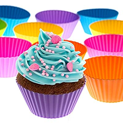 Silicone Baking Cups Set of 12 Reusable Cupcake Liners in Six Colors in Storage Container